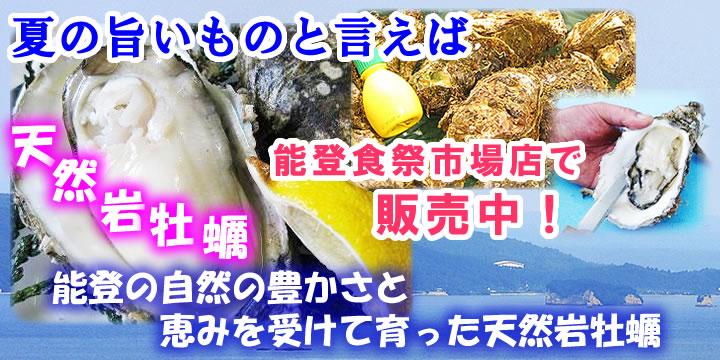 能登食祭市場店で天然岩牡蠣販売中